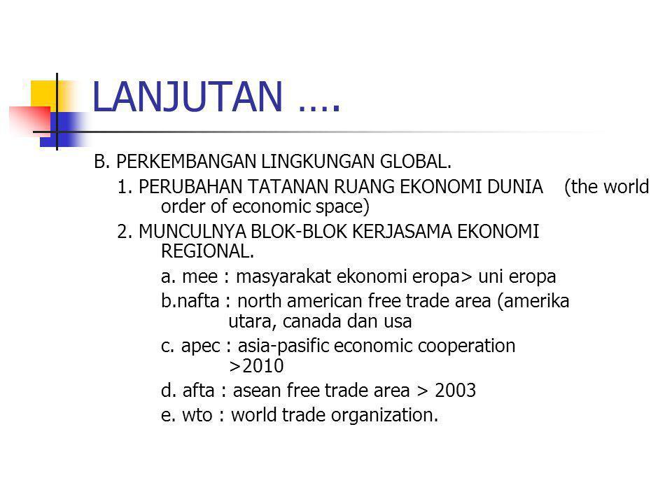 LANJUTAN …. B. PERKEMBANGAN LINGKUNGAN GLOBAL. 1. PERUBAHAN TATANAN RUANG EKONOMI DUNIA (the world order of economic space) 2. MUNCULNYA BLOK-BLOK KER