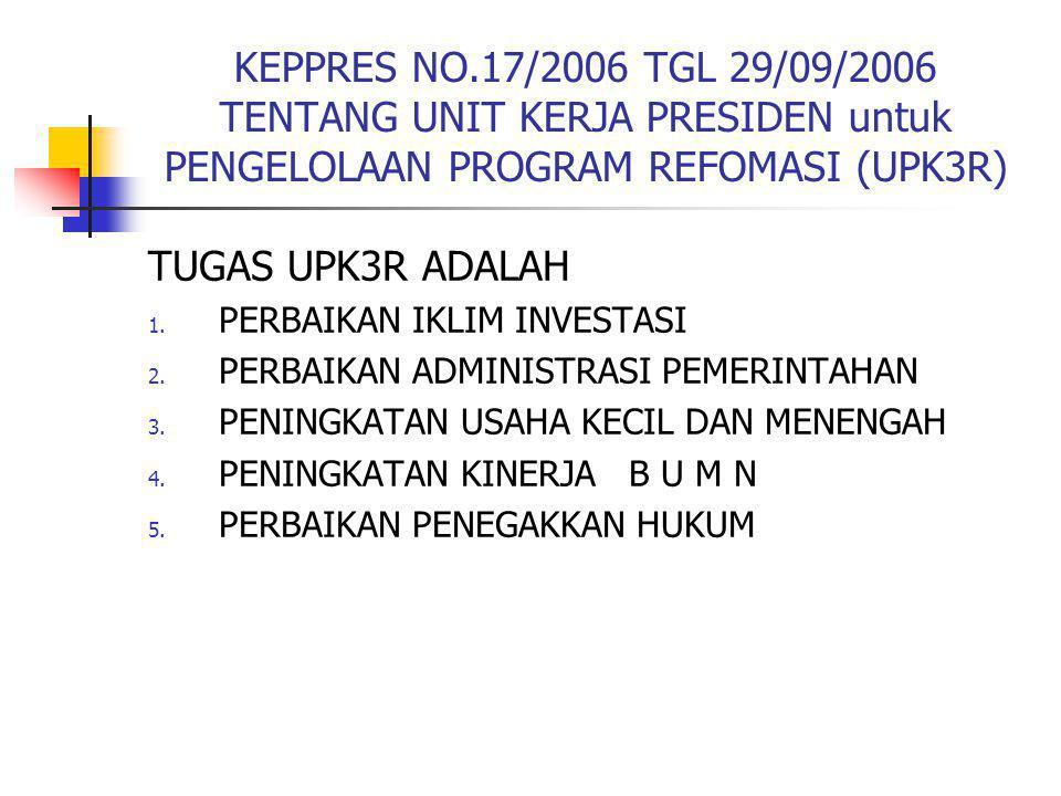 KEPPRES NO.17/2006 TGL 29/09/2006 TENTANG UNIT KERJA PRESIDEN untuk PENGELOLAAN PROGRAM REFOMASI (UPK3R) TUGAS UPK3R ADALAH 1. PERBAIKAN IKLIM INVESTA
