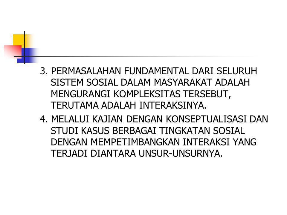 3. PERMASALAHAN FUNDAMENTAL DARI SELURUH SISTEM SOSIAL DALAM MASYARAKAT ADALAH MENGURANGI KOMPLEKSITAS TERSEBUT, TERUTAMA ADALAH INTERAKSINYA. 4. MELA