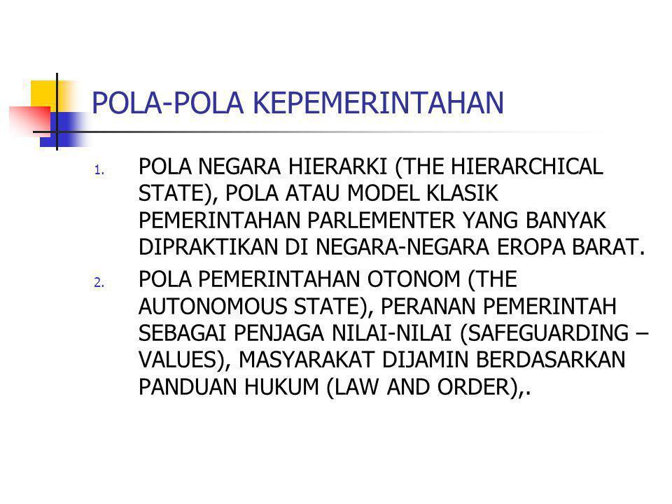 POLA-POLA KEPEMERINTAHAN 1. POLA NEGARA HIERARKI (THE HIERARCHICAL STATE), POLA ATAU MODEL KLASIK PEMERINTAHAN PARLEMENTER YANG BANYAK DIPRAKTIKAN DI