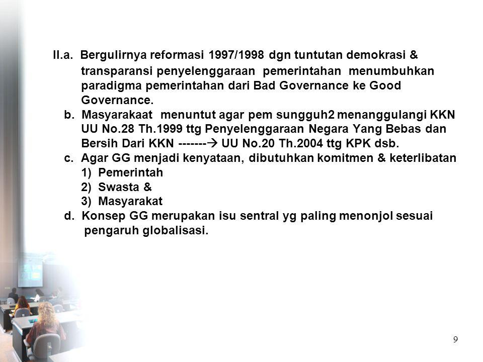29 KESEIMBANGAN PERAN PEMERINTAH (GOOD PUBLIC GOVERNANCE) MASYARAKAT (CIVIL SOCIETY) DUNIA USAHA (GOOD COPERATE)