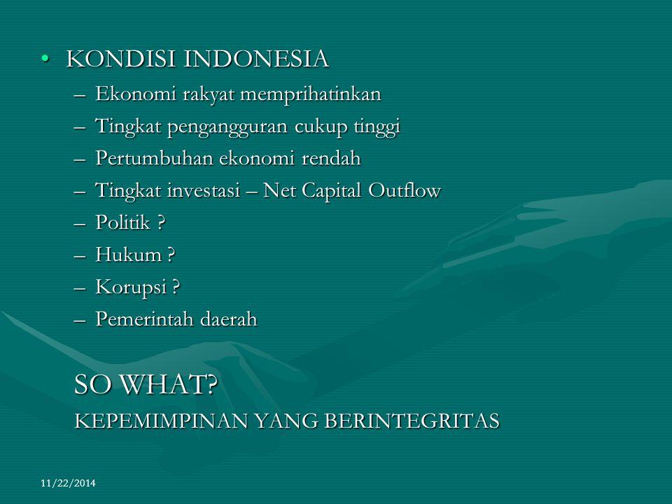 11/22/2014 KONDISI INDONESIAKONDISI INDONESIA –Ekonomi rakyat memprihatinkan –Tingkat pengangguran cukup tinggi –Pertumbuhan ekonomi rendah –Tingkat i