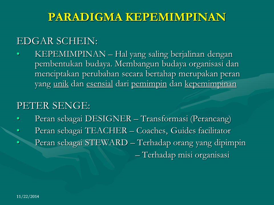11/22/2014 PARADIGMA KEPEMIMPINAN EDGAR SCHEIN: KEPEMIMPINAN – Hal yang saling berjalinan dengan pembentukan budaya. Membangun budaya organisasi dan m