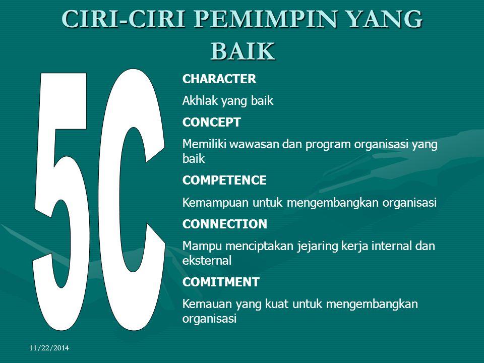 11/22/2014 CIRI-CIRI PEMIMPIN YANG BAIK CHARACTER Akhlak yang baik CONCEPT Memiliki wawasan dan program organisasi yang baik COMPETENCE Kemampuan untu