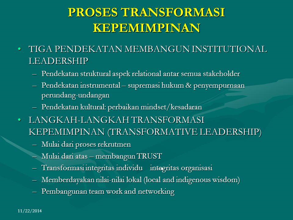 11/22/2014 PROSES TRANSFORMASI KEPEMIMPINAN TIGA PENDEKATAN MEMBANGUN INSTITUTIONAL LEADERSHIPTIGA PENDEKATAN MEMBANGUN INSTITUTIONAL LEADERSHIP –Pend