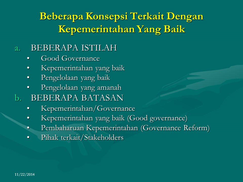 11/22/2014 Beberapa Konsepsi Terkait Dengan Kepemerintahan Yang Baik a.BEBERAPA ISTILAH Good GovernanceGood Governance Kepemerintahan yang baikKepemer