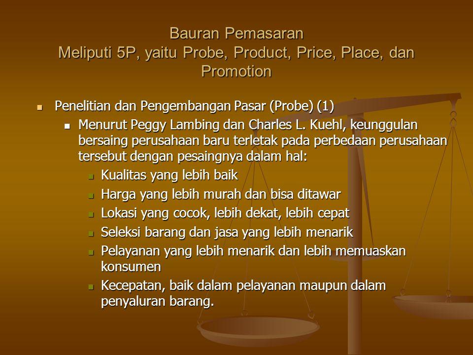 Bauran Pemasaran Meliputi 5P, yaitu Probe, Product, Price, Place, dan Promotion Penelitian dan Pengembangan Pasar (Probe) (1) Penelitian dan Pengemban
