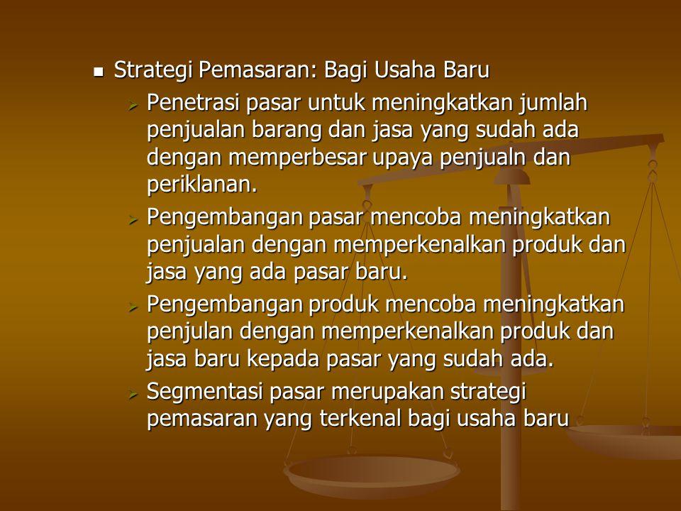Strategi Pemasaran: Bagi Usaha Baru Strategi Pemasaran: Bagi Usaha Baru  Penetrasi pasar untuk meningkatkan jumlah penjualan barang dan jasa yang sud