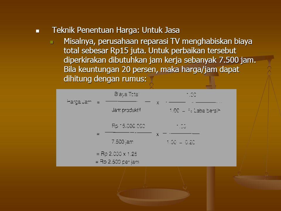 Teknik Penentuan Harga: Untuk Jasa Teknik Penentuan Harga: Untuk Jasa Misalnya, perusahaan reparasi TV menghabiskan biaya total sebesar Rp15 juta. Unt