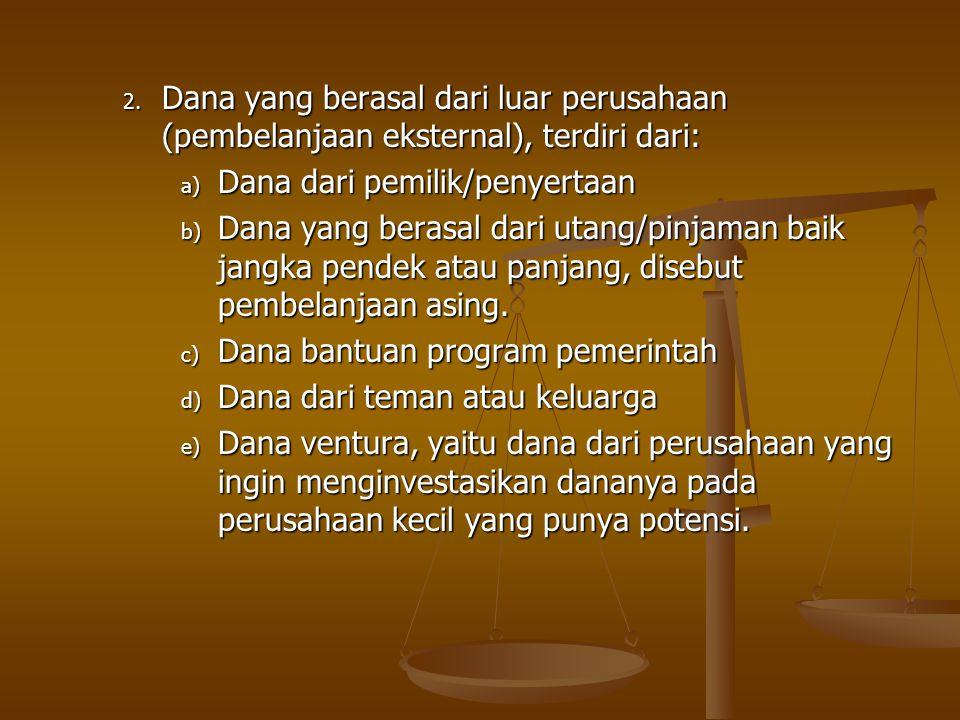 2. Dana yang berasal dari luar perusahaan (pembelanjaan eksternal), terdiri dari: a) Dana dari pemilik/penyertaan b) Dana yang berasal dari utang/pinj