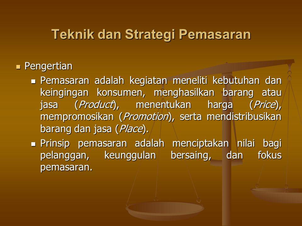 Teknik dan Strategi Pemasaran Pengertian Pengertian Pemasaran adalah kegiatan meneliti kebutuhan dan keingingan konsumen, menghasilkan barang atau jas