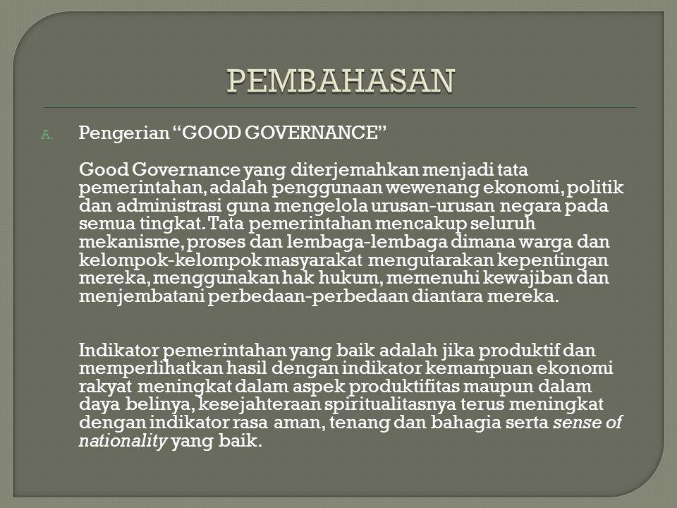 """A. Apa pengertian dari """"GOOD GOVERNANCE""""? B. Apa saja prinsip – prinsip dalam """"GOOD GOVERNANCE""""? C. Apa peran mahasiswa dalam masyarakan,terutama dala"""