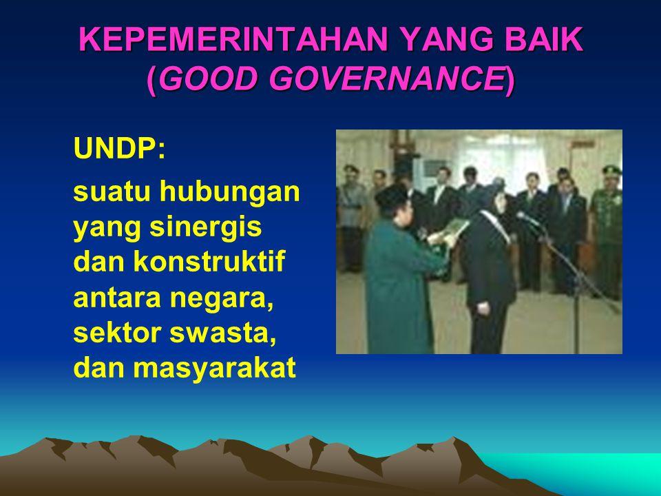 KEPEMERINTAHAN YANG BAIK (GOOD GOVERNANCE) UNDP: suatu hubungan yang sinergis dan konstruktif antara negara, sektor swasta, dan masyarakat