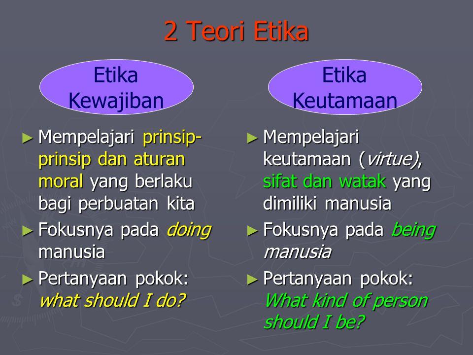 2 Teori Etika ► Mempelajari prinsip- prinsip dan aturan moral yang berlaku bagi perbuatan kita ► Fokusnya pada doing manusia ► Pertanyaan pokok: what