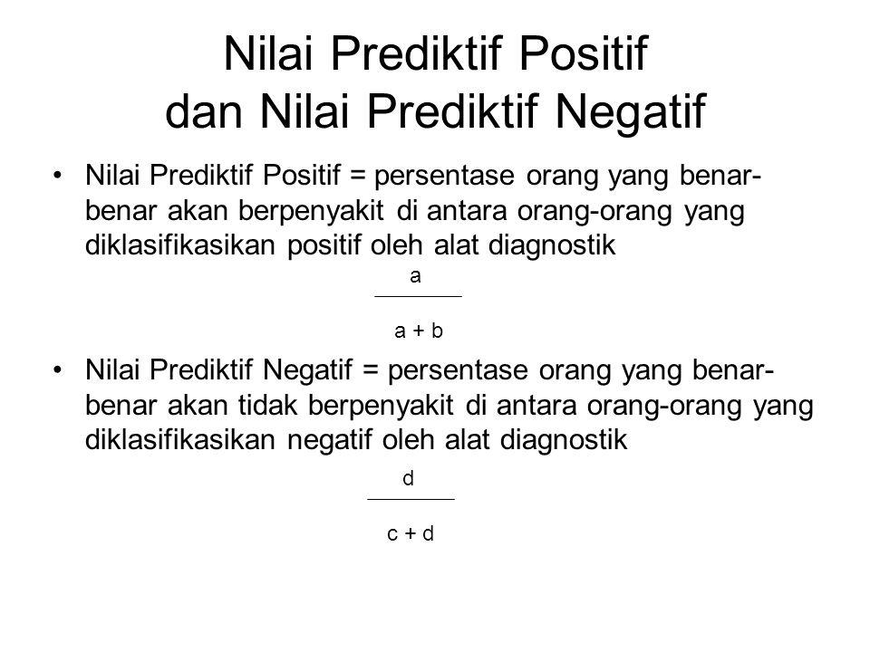 Nilai Prediktif Positif dan Nilai Prediktif Negatif Nilai Prediktif Positif = persentase orang yang benar- benar akan berpenyakit di antara orang-oran