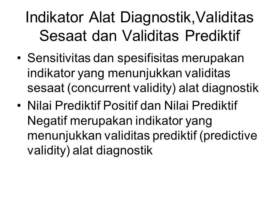 Indikator Alat Diagnostik,Validitas Sesaat dan Validitas Prediktif Sensitivitas dan spesifisitas merupakan indikator yang menunjukkan validitas sesaat