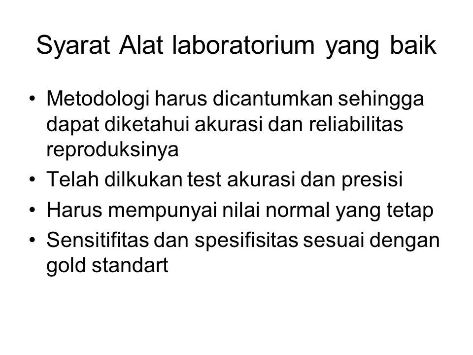 Syarat Alat laboratorium yang baik Metodologi harus dicantumkan sehingga dapat diketahui akurasi dan reliabilitas reproduksinya Telah dilkukan test ak