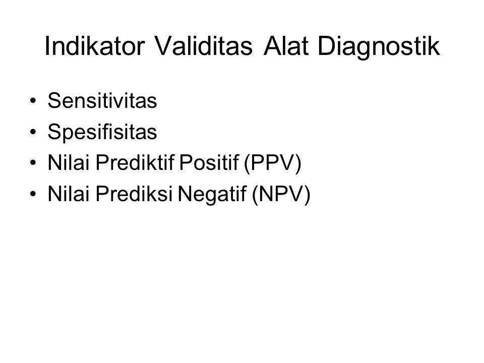 Indikator Validitas Alat Diagnostik Sensitivitas Spesifisitas Nilai Prediktif Positif (PPV) Nilai Prediksi Negatif (NPV)