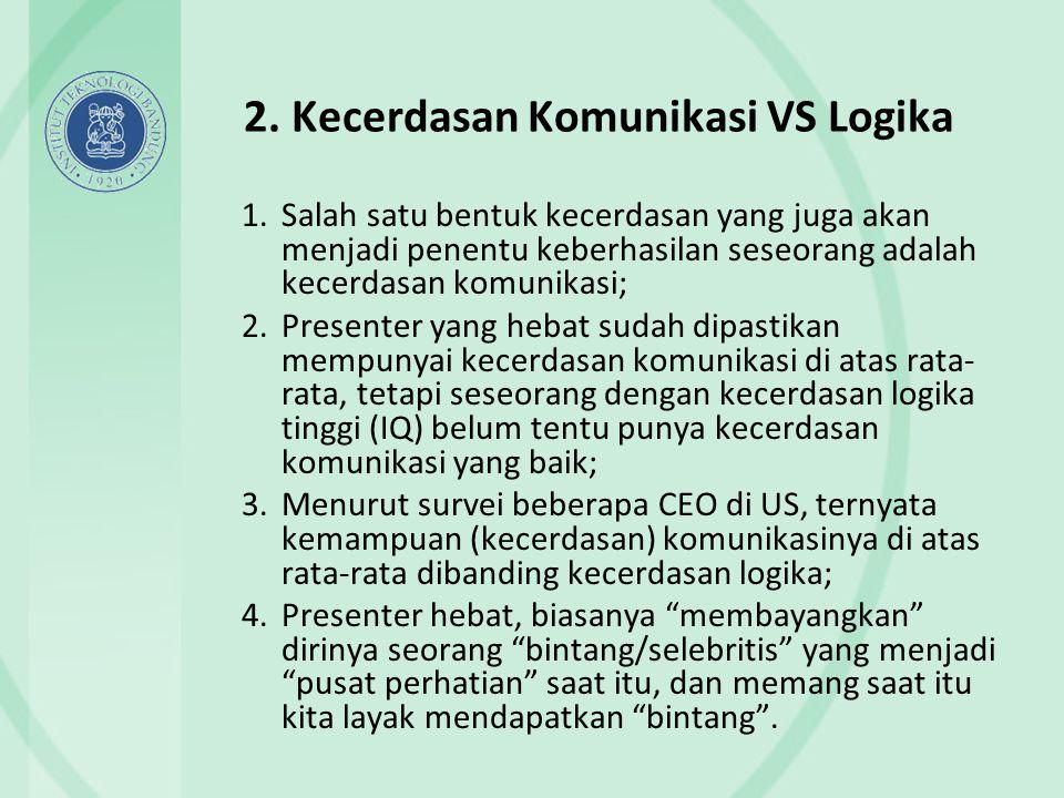 2. Kecerdasan Komunikasi VS Logika 1.Salah satu bentuk kecerdasan yang juga akan menjadi penentu keberhasilan seseorang adalah kecerdasan komunikasi;