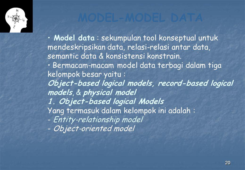 20 MODEL-MODEL DATA Model data : sekumpulan tool konseptual untuk mendeskripsikan data, relasi-relasi antar data, semantic data & konsistensi konstrai