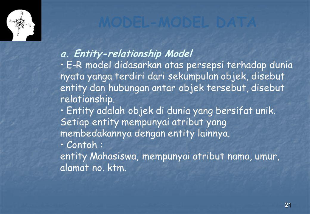 21 MODEL-MODEL DATA a. Entity-relationship Model E-R model didasarkan atas persepsi terhadap dunia nyata yanga terdiri dari sekumpulan objek, disebut