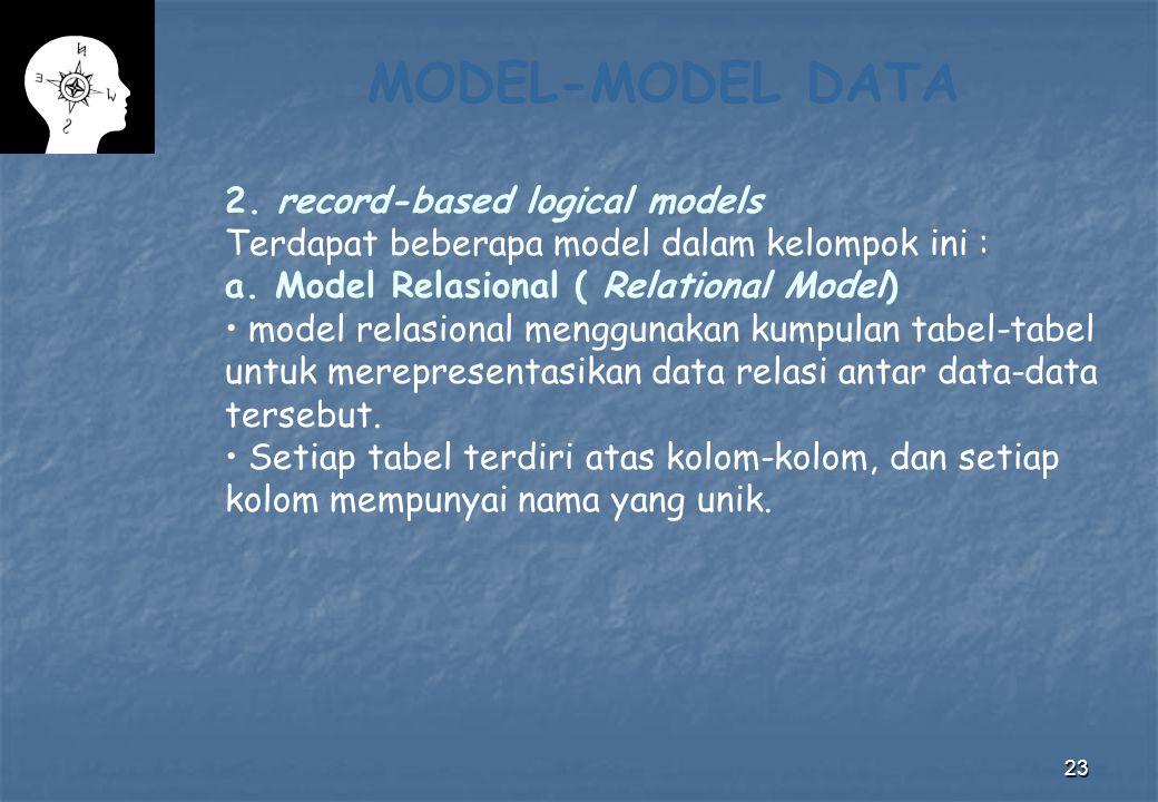 23 MODEL-MODEL DATA 2. record-based logical models Terdapat beberapa model dalam kelompok ini : a. Model Relasional ( Relational Model) model relasion