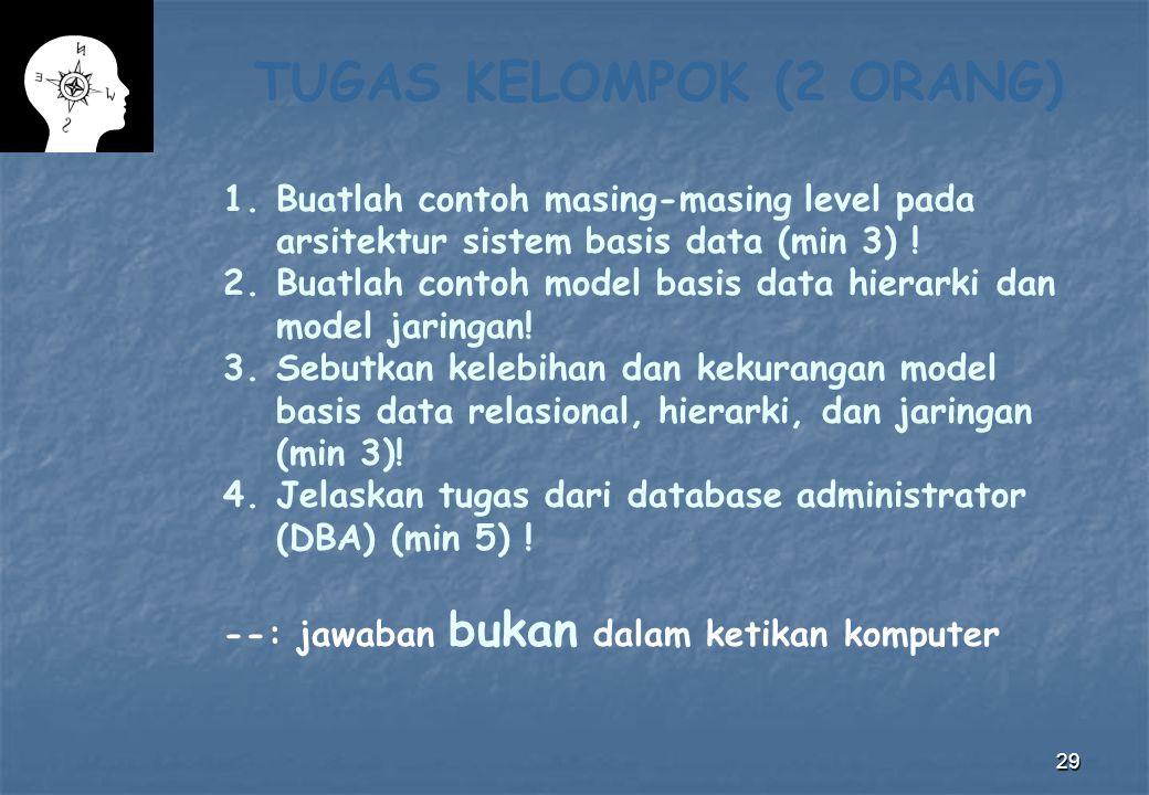 29 TUGAS KELOMPOK (2 ORANG) 1.Buatlah contoh masing-masing level pada arsitektur sistem basis data (min 3) ! 2.Buatlah contoh model basis data hierark