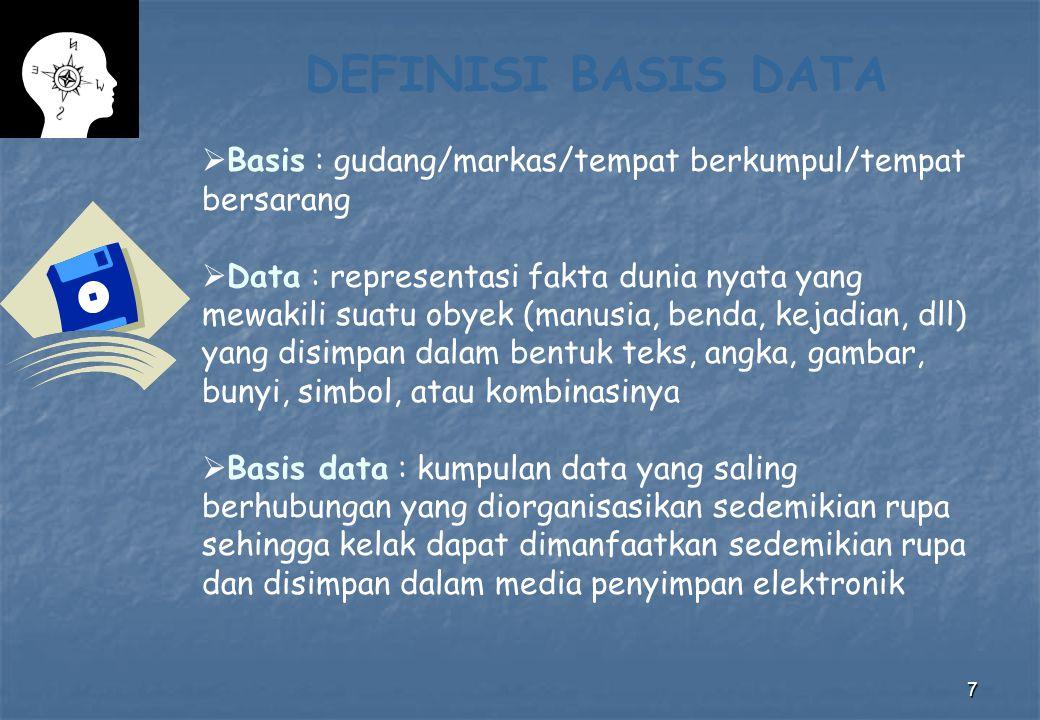 7 DEFINISI BASIS DATA  Basis : gudang/markas/tempat berkumpul/tempat bersarang  Data : representasi fakta dunia nyata yang mewakili suatu obyek (man