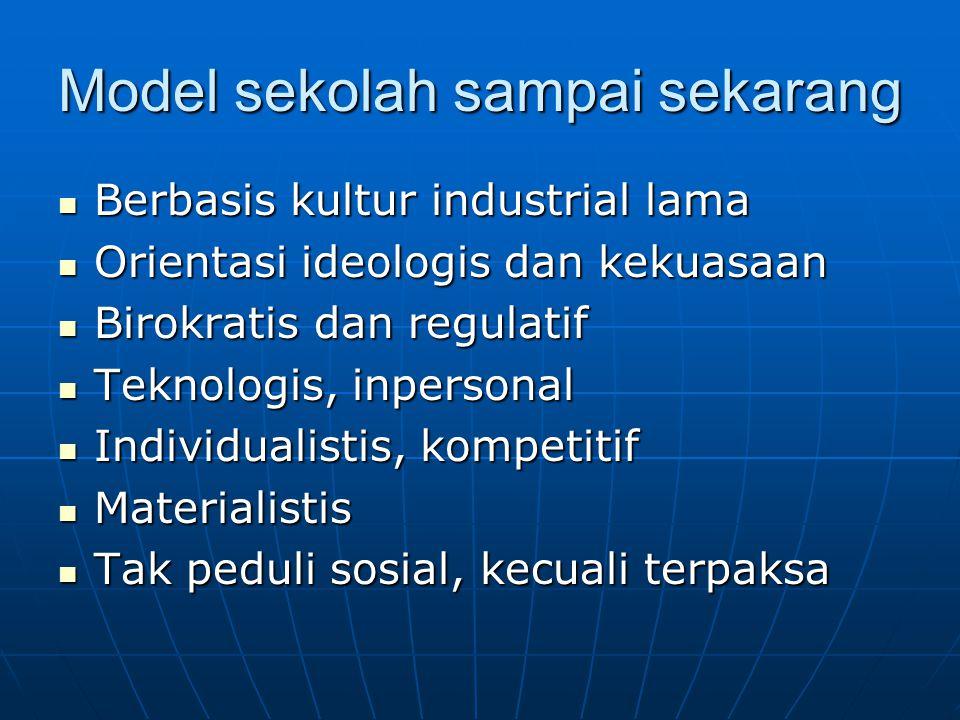 Model sekolah sampai sekarang Berbasis kultur industrial lama Berbasis kultur industrial lama Orientasi ideologis dan kekuasaan Orientasi ideologis da