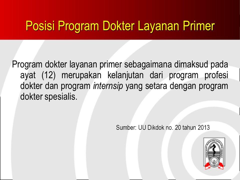 Posisi Program Dokter Layanan Primer Program dokter layanan primer sebagaimana dimaksud pada ayat (12) merupakan kelanjutan dari program profesi dokter dan program internsip yang setara dengan program dokter spesialis.