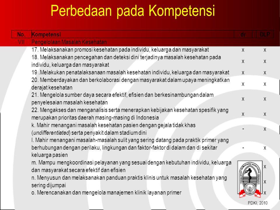 Perbedaan pada Kompetensi No.KompetensidrDLP VIIPengelolaan Masalah Kesehatan 17.