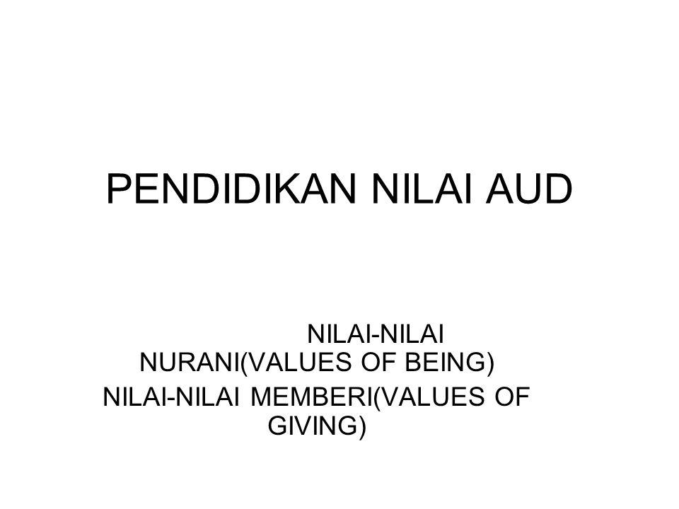 PENDIDIKAN NILAI AUD NILAI-NILAI NURANI(VALUES OF BEING) NILAI-NILAI MEMBERI(VALUES OF GIVING)