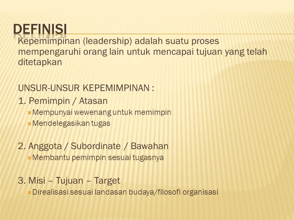 Kepemimpinan (leadership) adalah suatu proses mempengaruhi orang lain untuk mencapai tujuan yang telah ditetapkan UNSUR-UNSUR KEPEMIMPINAN : 1.