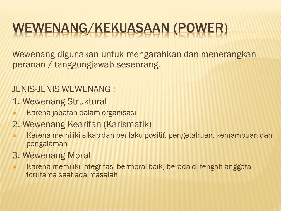Wewenang digunakan untuk mengarahkan dan menerangkan peranan / tanggungjawab seseorang.