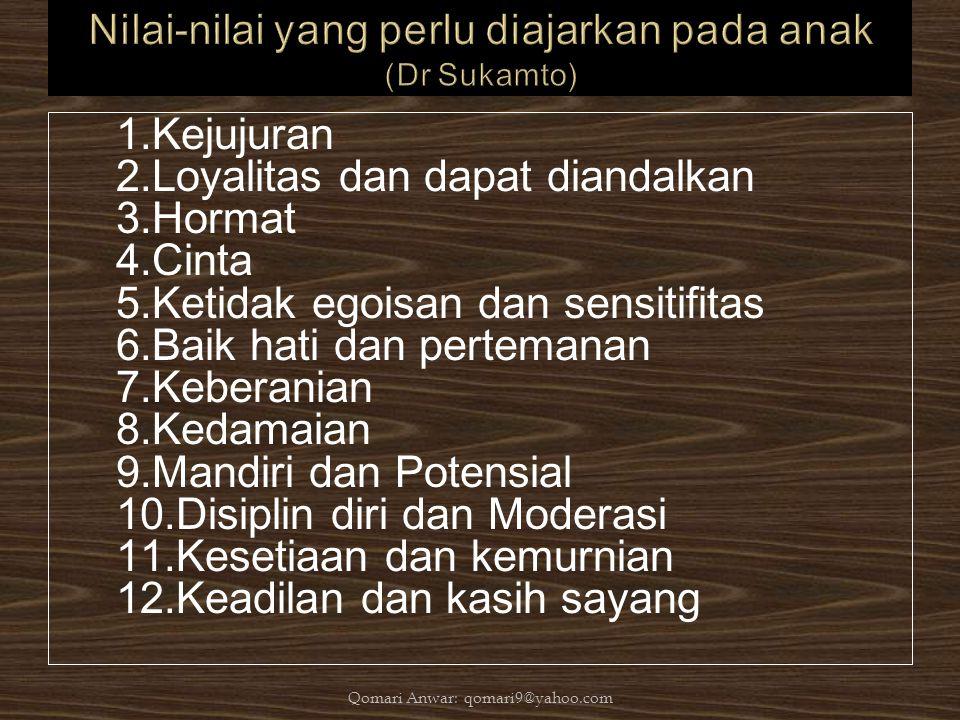 1.Kejujuran 2.Loyalitas dan dapat diandalkan 3.Hormat 4.Cinta 5.Ketidak egoisan dan sensitifitas 6.Baik hati dan pertemanan 7.Keberanian 8.Kedamaian 9