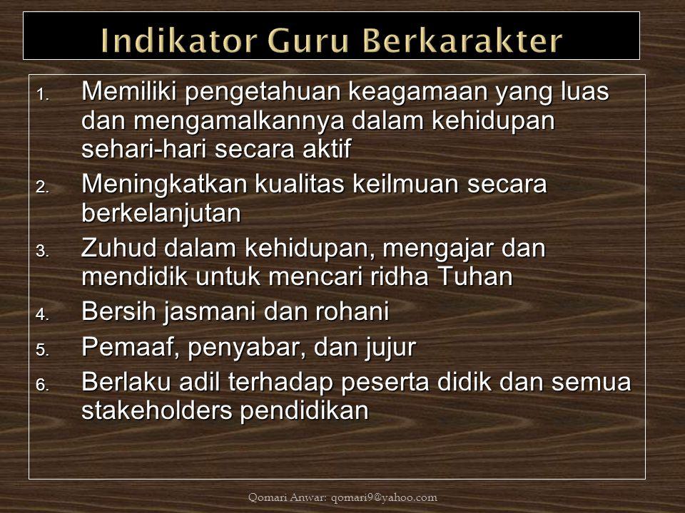 1. Memiliki pengetahuan keagamaan yang luas dan mengamalkannya dalam kehidupan sehari-hari secara aktif 2. Meningkatkan kualitas keilmuan secara berke