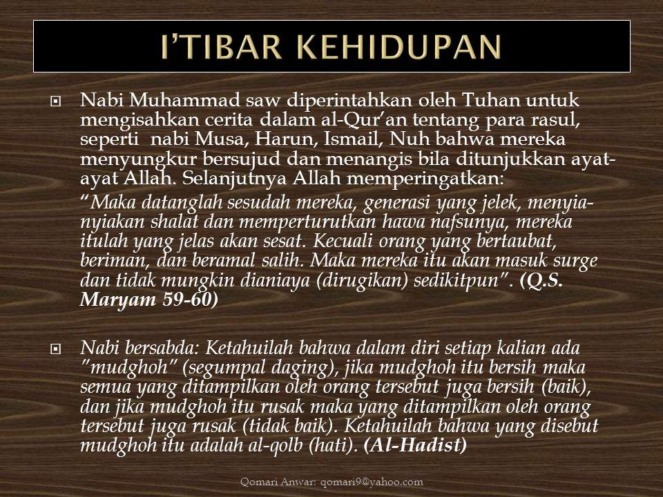  Nabi Muhammad saw diperintahkan oleh Tuhan untuk mengisahkan cerita dalam al-Qur'an tentang para rasul, seperti nabi Musa, Harun, Ismail, Nuh bahwa