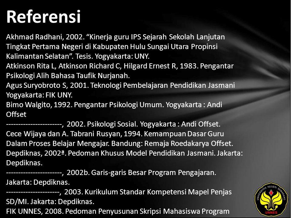Referensi Akhmad Radhani, 2002.