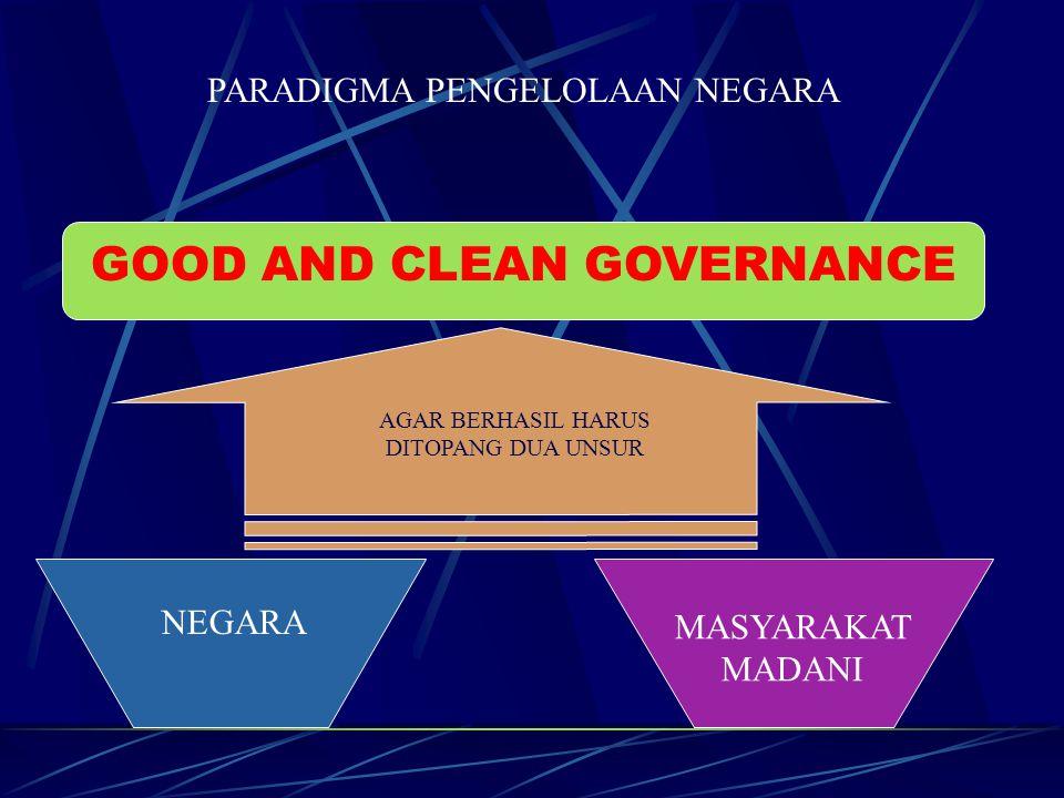 PARADIGMA PENGELOLAAN NEGARA GOOD AND CLEAN GOVERNANCE NEGARA MASYARAKAT MADANI AGAR BERHASIL HARUS DITOPANG DUA UNSUR