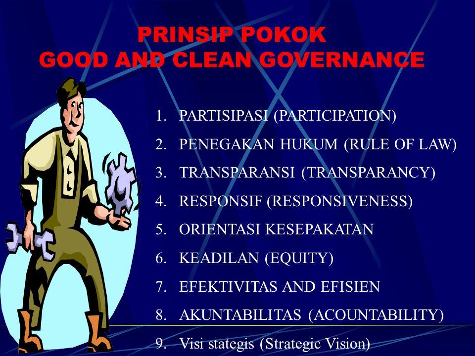 PRINSIP POKOK GOOD AND CLEAN GOVERNANCE 1.PARTISIPASI (PARTICIPATION) 2.PENEGAKAN HUKUM (RULE OF LAW) 3.TRANSPARANSI (TRANSPARANCY) 4.RESPONSIF (RESPONSIVENESS) 5.ORIENTASI KESEPAKATAN 6.KEADILAN (EQUITY) 7.EFEKTIVITAS AND EFISIEN 8.AKUNTABILITAS (ACOUNTABILITY) 9.Visi stategis (Strategic Vision)