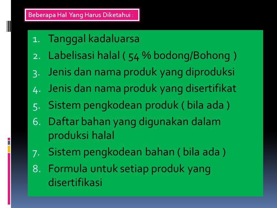 1. Tanggal kadaluarsa 2. Labelisasi halal ( 54 % bodong/Bohong ) 3. Jenis dan nama produk yang diproduksi 4. Jenis dan nama produk yang disertifikat 5