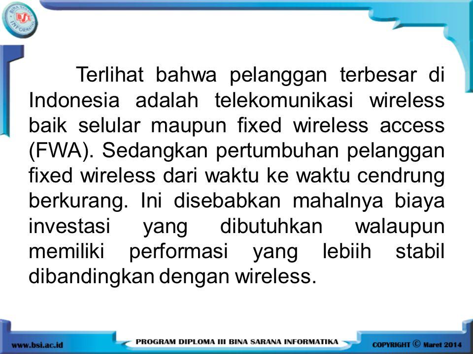 Terlihat bahwa pelanggan terbesar di Indonesia adalah telekomunikasi wireless baik selular maupun fixed wireless access (FWA). Sedangkan pertumbuhan p