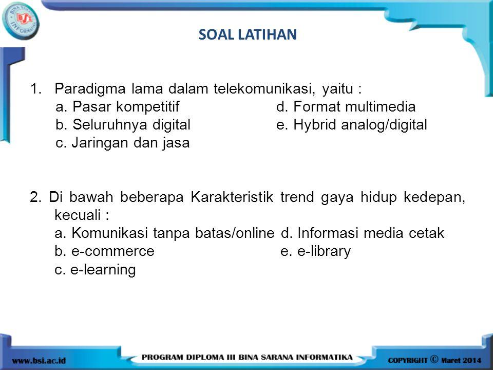 SOAL LATIHAN 1.Paradigma lama dalam telekomunikasi, yaitu : a. Pasar kompetitif d. Format multimedia b. Seluruhnya digital e. Hybrid analog/digital c.