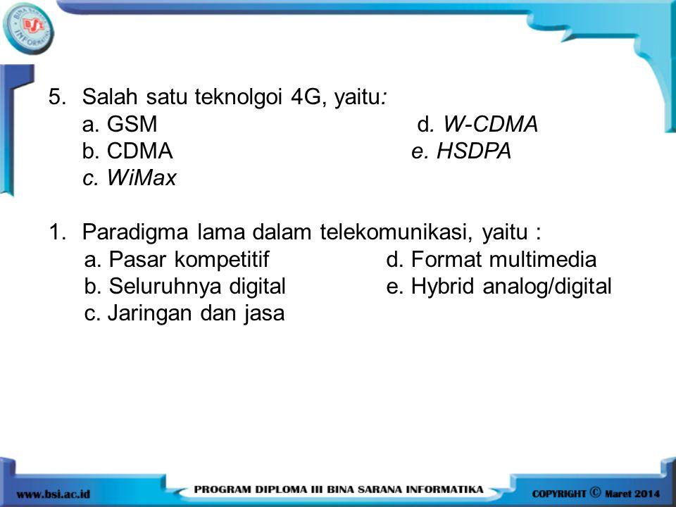 5.Salah satu teknolgoi 4G, yaitu: a. GSM d. W-CDMA b. CDMA e. HSDPA c. WiMax 1.Paradigma lama dalam telekomunikasi, yaitu : a. Pasar kompetitif d. For