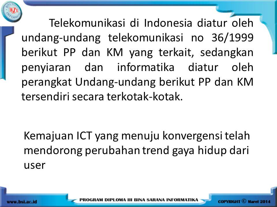 Telekomunikasi di Indonesia diatur oleh undang-undang telekomunikasi no 36/1999 berikut PP dan KM yang terkait, sedangkan penyiaran dan informatika di