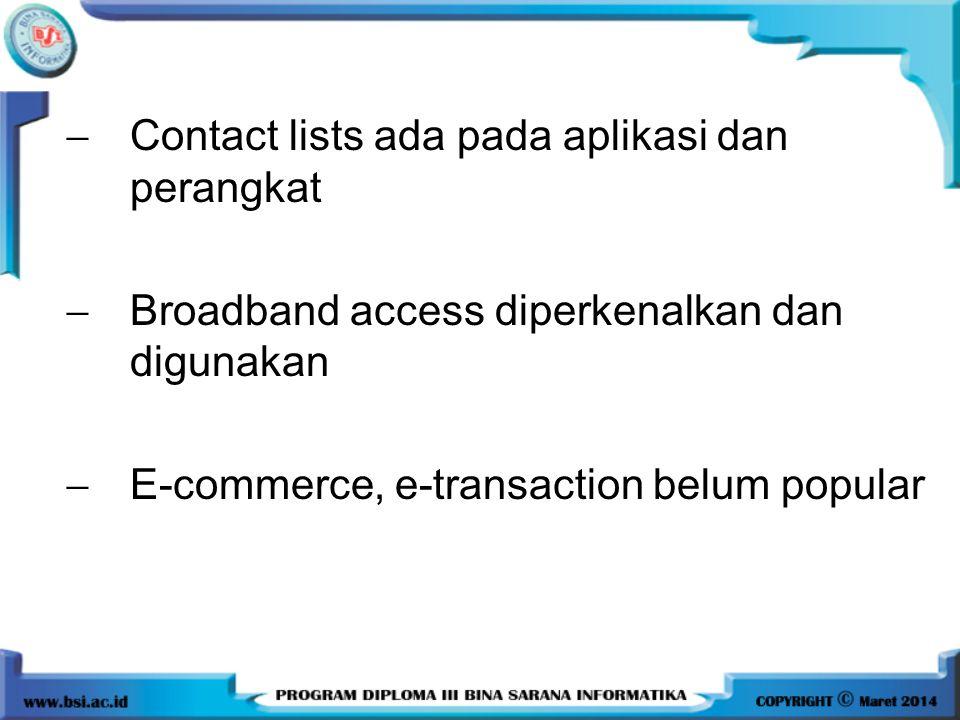  Contact lists ada pada aplikasi dan perangkat  Broadband access diperkenalkan dan digunakan  E-commerce, e-transaction belum popular