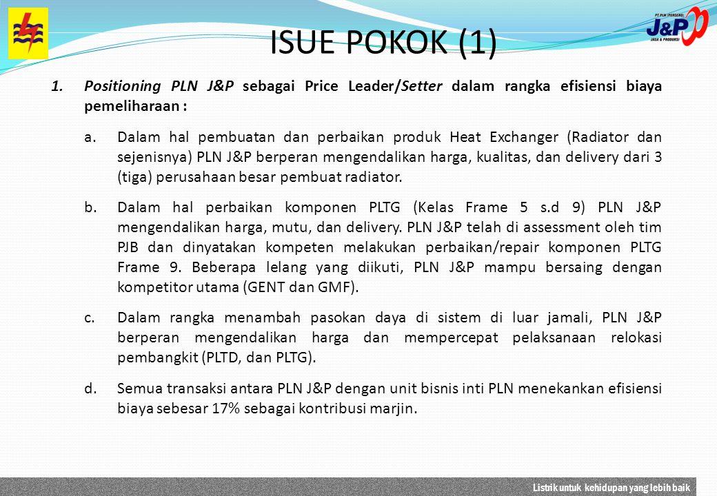 Listrik untuk kehidupan yang lebih baik ISUE POKOK (1) 1.Positioning PLN J&P sebagai Price Leader/Setter dalam rangka efisiensi biaya pemeliharaan : a