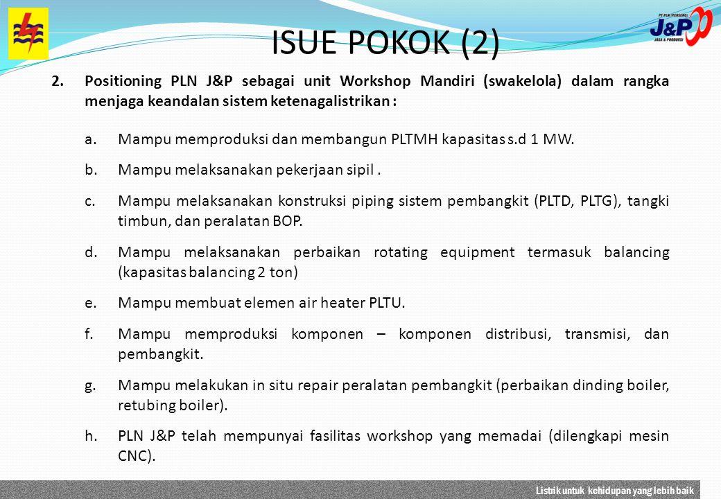 Listrik untuk kehidupan yang lebih baik 2.Positioning PLN J&P sebagai unit Workshop Mandiri (swakelola) dalam rangka menjaga keandalan sistem ketenaga