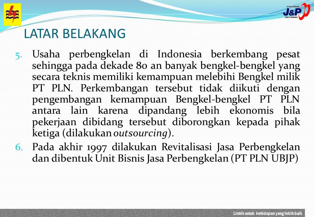 Listrik untuk kehidupan yang lebih baik LATAR BELAKANG Pertimbangan Revitalisasi bidang bisnis ini adalah : a) PT PLN telah memiliki sumber daya yg dapat dikembangkan menjadi bisnis Workshop.