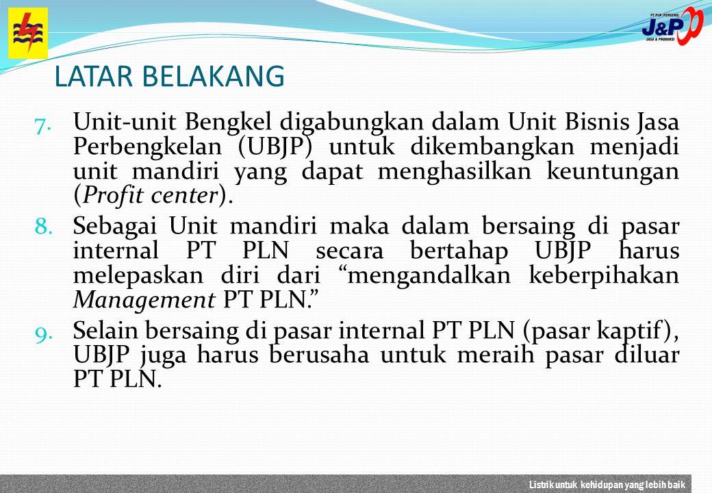Listrik untuk kehidupan yang lebih baik LATAR BELAKANG 7. Unit-unit Bengkel digabungkan dalam Unit Bisnis Jasa Perbengkelan (UBJP) untuk dikembangkan